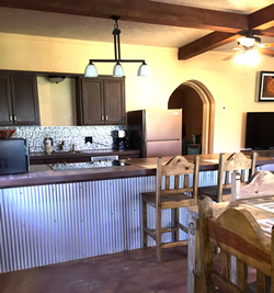 Straw Bale Cabin kitchen at Granbury Log Cabins
